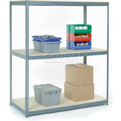 Global Industrial™ Wide Span Rack 72Wx36Dx84H, 3 Shelves Wood Deck 900 Lb Cap. Per Level, Gray