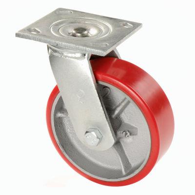 "Global Industrial™ Heavy Duty Swivel Plate Caster 5"" Polyurethane Wheel 500 Lb. Capacity"