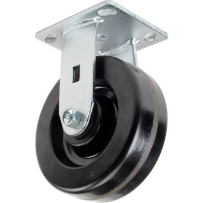 "Global Industrial™ Heavy Duty Rigid Plate Caster 6"" Plastic Wheel 800 Lb. Capacity"