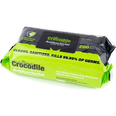 "Crocodile Cloth® Antibacterial Sanitizer Hand Wipes, 7.9"" x 8.7"" Wipes, 200 Wipes/Pouch - 6102 - Pkg Qty 10"