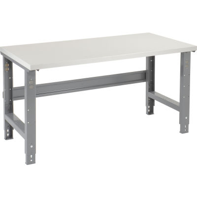 Global Industrial™ 72x30 Adjustable Height Workbench C-Channel Leg - Laminate Square Edge Gray