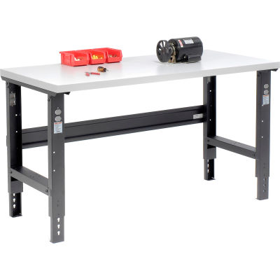 Global Industrial™ 60x36 Adjustable Height Workbench C-Channel Leg - Laminate Square Edge Black