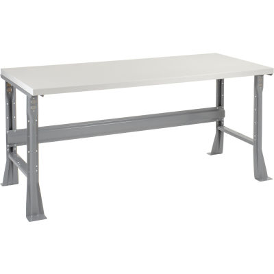 """72""""W x 30""""D x 34""""H Fixed Height Workbench C-Channel Flared Leg - Plastic Laminate Square Edge - Gray"""