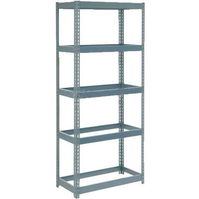 """Extra Heavy Duty Shelving 36""""W x 18""""D x 96""""H With 5 Shelves - No Deck - Gray"""