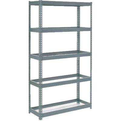 """Extra Heavy Duty Shelving 48""""W x 24""""D x 72""""H With 5 Shelves - No Deck - Gray"""