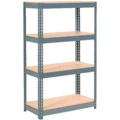 "Extra Heavy Duty Shelving 36""W x 24""D x 72""H With 4 Shelves - Wood Deck - Gray"