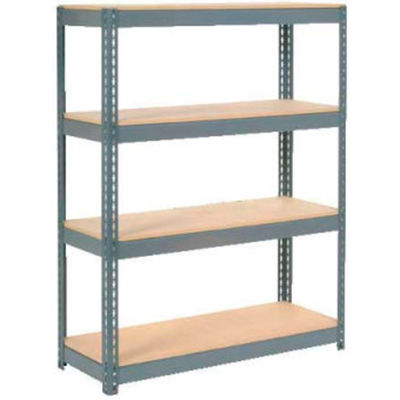 "Extra Heavy Duty Shelving 48""W x 12""D x 72""H With 4 Shelves - Wood Deck - Gray"