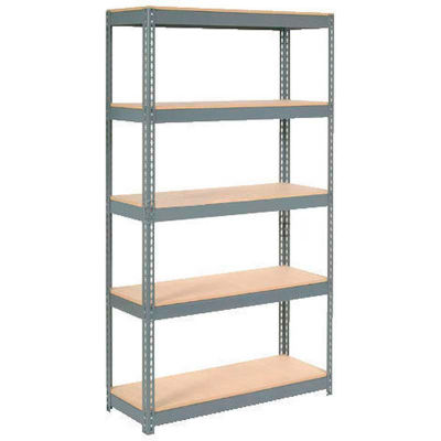 """Extra Heavy Duty Shelving 48""""W x 18""""D x 72""""H With 5 Shelves - Wood Deck - Gray"""