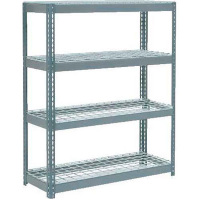"Global Industrial™ Extra Heavy Duty Shelving 48""W x 24""D x 72""H With 4 Shelves, Wire Deck, Gry"