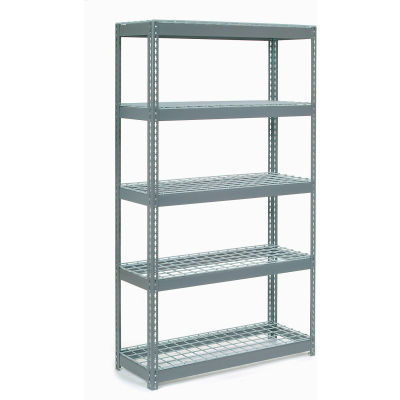 """Extra Heavy Duty Shelving 48""""W x 18""""D x 96""""H With 5 Shelves - Wire Deck - Gray"""