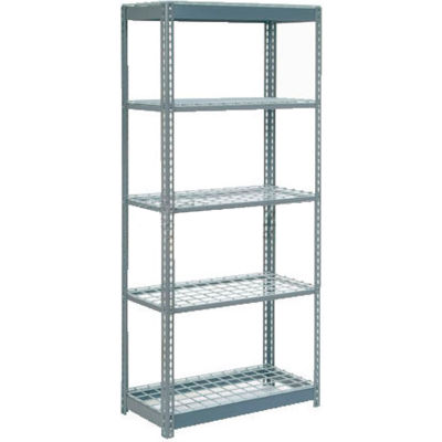 "Global Industrial™ Heavy Duty Shelving 36""W x 12""D x 60""H With 5 Shelves - Wire Deck - Gray"
