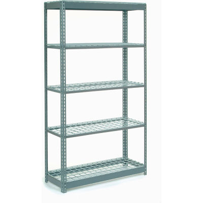 "Extra Heavy Duty Shelving 48""W x 18""D x 96""H With 5 Shelves - Wire Deck - Gray"