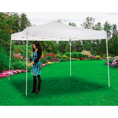 "Global Industrial™ Portable Straight Leg Pop Up Canopy, 10'L x 10'W x 10'1""H, White"