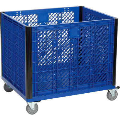 Global Industrial™ Easy Assembly Vented Wall Bulk Container - Casters 39-1/4 x 31-1/2 x 29 Blue