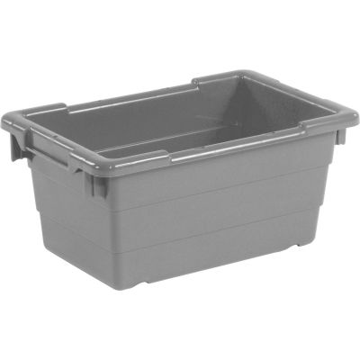 Quantum Cross Stack Nest Tub TUB1711-8 - 17-1/4 x 11 x 8 Gray - Pkg Qty 6