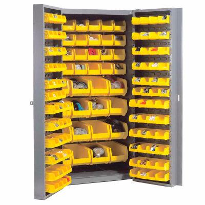 Global Industrial™ Bin Cabinet Deep Door - 136 Yellow Bins, 16-Gauge Assembled Cabinet 38x24x72