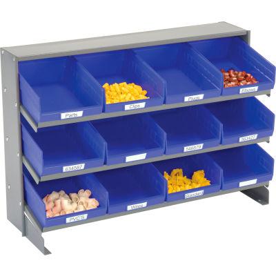 Global Industrial™ 3 Shelf Bench Pick Rack - 12 Blue Shelf Bins 8 Inch Wide 33x12x21