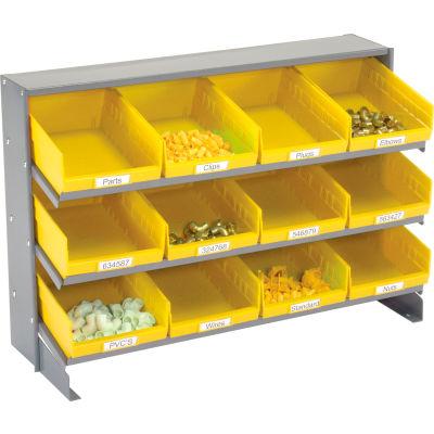 Global Industrial™ 3 Shelf Bench Pick Rack - 12 Yellow Plastic Shelf Bins 8 Inch Wide 33x12x21