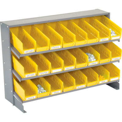 Global Industrial™ 3 Shelf Bench Pick Rack - 24 Yellow Plastic Shelf Bins 4 Inch Wide 33x12x21
