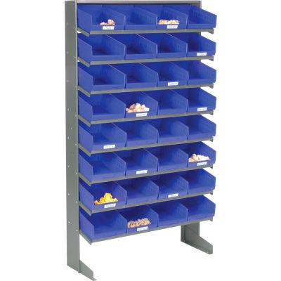 Global Industrial™ 8 Shelf Floor Pick Rack - 32 Blue Plastic Shelf Bins 8 Inch Wide 33x12x61