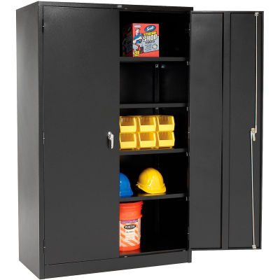 """Global Industrial™ Storage Cabinet With Turn Handle, Black, 48""""W x 24""""D x 78""""H"""
