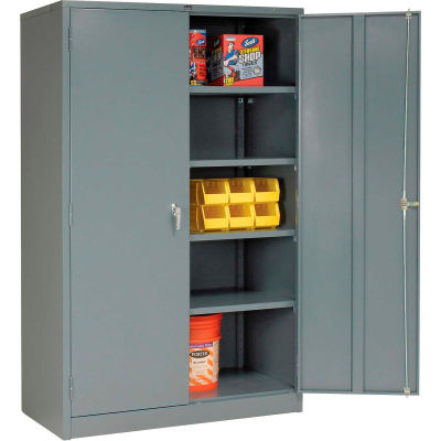 """Global Industrial™ Storage Cabinet, Turn Handle, 48""""Wx24""""Dx78""""H, Gray, Unassembled"""