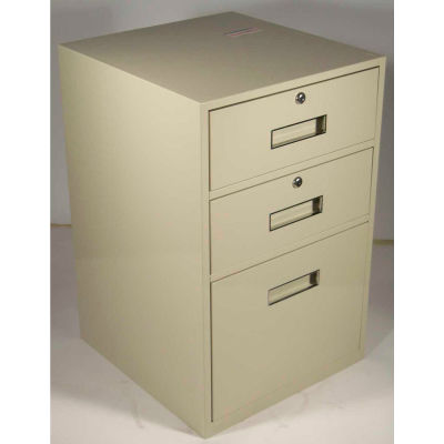 "Fenco Lowboy Teller Pedestal Cabinet S-606-A -2 Drawers 1 Legal Drawer 19"" x 19"" x 27-7/8"" Champagne"