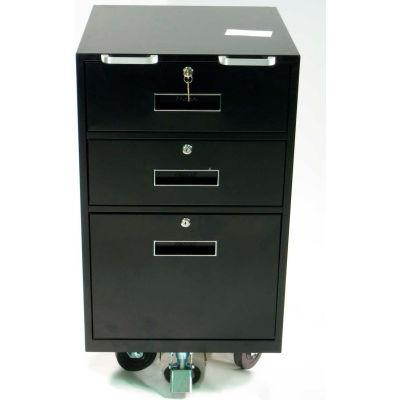 "Fenco Bus Teller Pedestal Cabinet 606-BC-18-B - 2 Drawers 1 Legal Drawer 18""W x 19""D x 31-7/8 Black"