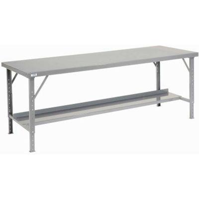 "84""W x 48""D Heavy-Duty Extra Long Assembly Workbench Steel Top - Gray"