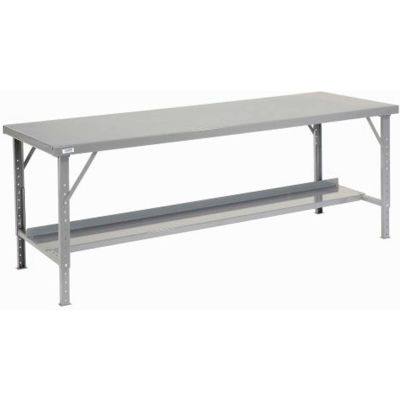 "Global Industrial™ 120""W x 34""D Heavy-Duty Extra Long Assembly Workbench Steel Top - Gray"