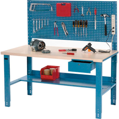 Global Industrial™ 60 x 30 Complete Industrial Workbench - Plastic Laminate Square Edge - Blue