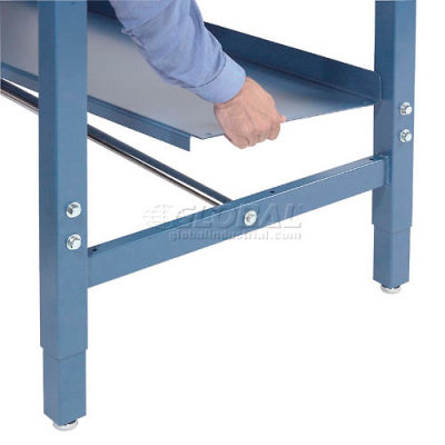 """Global Industrial™ Lower Shelf Steel With 2"""" Back Stop for Workbench - 48""""W x 15""""D - Blue"""