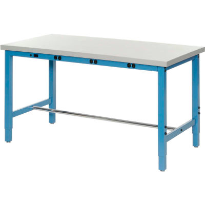 """Global Industrial™ Production Workbench w/ ESD Square Edge Top & Power Apron, 72""""W x 30""""D, Blue"""