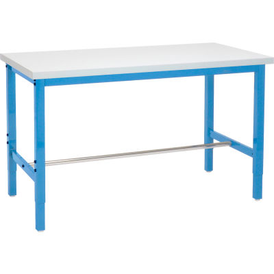 Global Industrial™ 96x30 Adjustable Height Workbench Square Tube Leg, Laminate Square Edge Blue