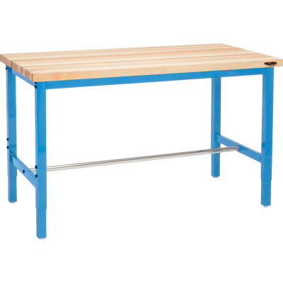 Global Industrial™ 60 x 24 Adjustable Height Workbench Square Tube Leg - Maple Square Edge Blue