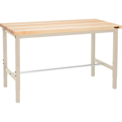 "72""W x 30""D Adjustable Height Workbench Square Tubular Leg - Maple Butcher Block Square Edge - Tan"