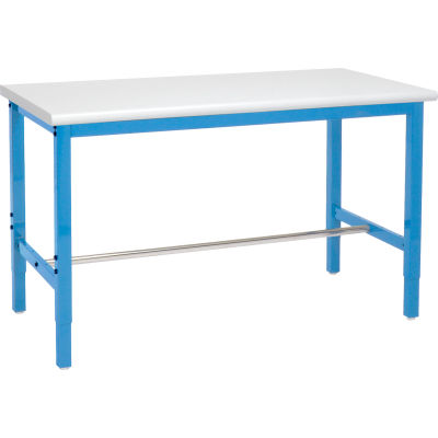 Global Industrial™ 60x30 Adjustable Height Workbench Square Tube Leg, Laminate Safety Edge Blue