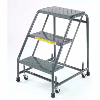 """Perforated 16""""W 3 Step Steel Rolling Ladder 10""""D Top Step - 318P"""
