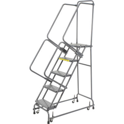 """Perforated 16""""W 5 Step Steel Rolling Ladder 14""""D Top Step - FSH518P"""