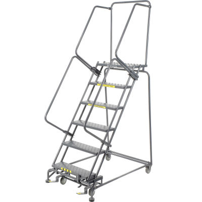 """Perforated 24""""W 6 Step Steel Rolling Ladder 14""""D Top Step- Lock Style B - FS063014"""