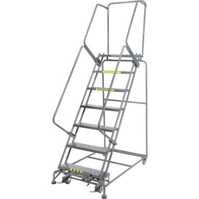 """Perforated 24""""W 7 Step Steel Rolling Ladder 14""""D Top Step- Lock Style B - FS073014P"""
