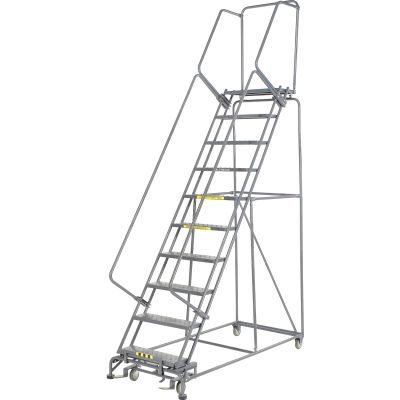 "Perforated 24""W 10 Step Steel Rolling Ladder 14""D Top Step - FS103214P"