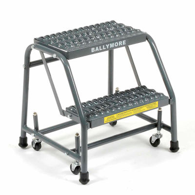 "Grip 16""W 2 Step Steel Rolling Ladder 10""D Top Step - 218G"