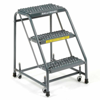 "Grip 16""W 3 Step Steel Rolling Ladder 10""D Top Step - 318G"