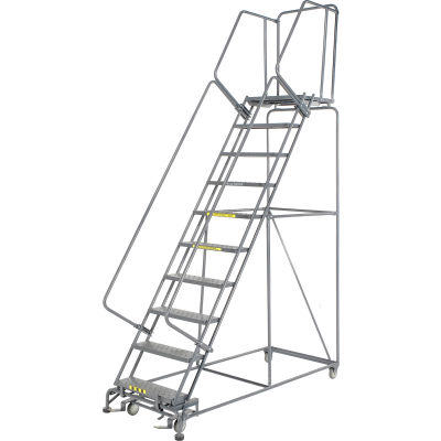 """Ballymore Steel Perforated 10-Step Rolling Ladder, Gray, 32"""" x 80"""" x 100"""""""