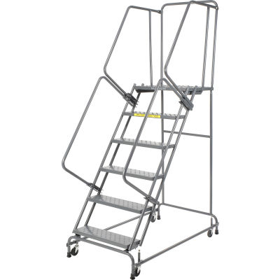 """Ballymore Steel Perforated 16""""W 6-Step Rolling Ladder"""