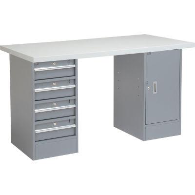 "48""W x 30""D x 1-5/8"" Thick Plastic Laminate Square Edge Workbench Top - Light Gray"