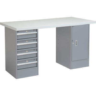 Global Industrial™ 96 x 30 Pedestal Workbench - 4 Drawers & Cabinet, Laminate Square Edge Gray