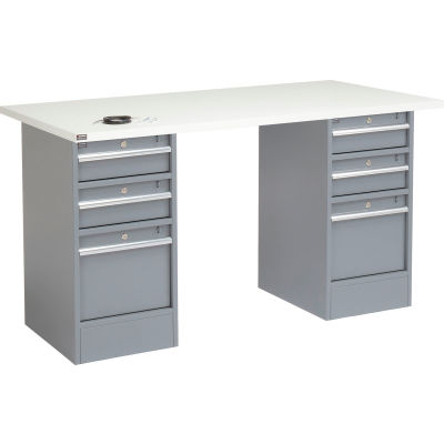 """Global Industrial™ 96""""W x 30""""D Pedestal Workbench - 6 Drawers, ESD Laminate Square Edge - Gray"""
