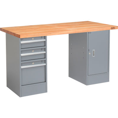 Global Industrial™ 96 x 30 Pedestal Workbench - 3 Drawers & Cabinet, Maple Square Edge - Gray